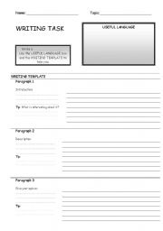 English Worksheets: Writing Template