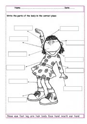 English Worksheet: Label the parts of the body
