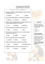 English Worksheet: Quiz on food