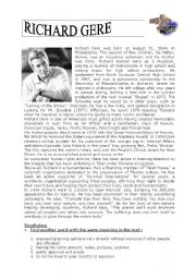 English Worksheet: Richard Gere - Human Rights  - Actor