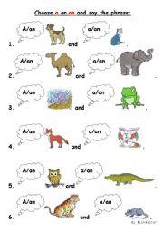 A/an worksheet for little kids - ESL worksheet by Wishmaster