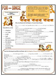 English Worksheet: FOR --- SINCE