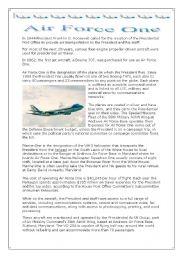 air force one plane president usa reading esl worksheet by demeuter. Black Bedroom Furniture Sets. Home Design Ideas