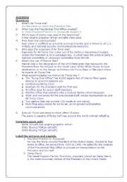 English Worksheets: Air Force One - Plane President - Answers
