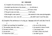 English worksheet: SO & BECAUSE