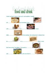 English worksheet: food and drink part I