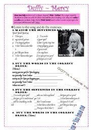 English Worksheet: SONG - MERCY BY DUFFY - SYNTAX ACTIVITIES