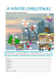 English Worksheets: A WHITE CHRISTMAS