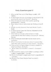 English Worksheets: Forty Questions 3