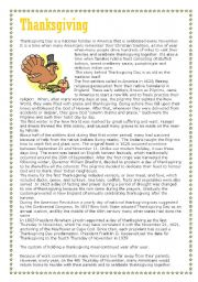 Thanksgiving - reading comprehension - part 1 of 3 (text)