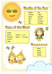 Months of the year, days of the week and seasons handout