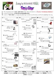 English Worksheet: TOM´S DINER - Suzanne Vega