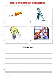 English Worksheets: IDIOMS AND COMMON EXPRESSIONS