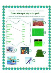 Places where you play or do sports with answer key :)