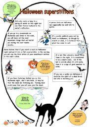 English Worksheet: Halloween superstitions part 1