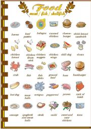 English Worksheets: Food (meat/fish)