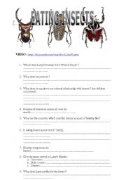 English Worksheets: eating insects