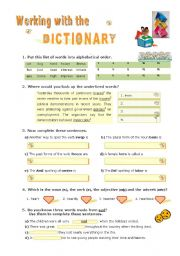 English Worksheet: Working with the  DICTIONARY
