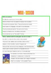 English Worksheets: WHO WHICH