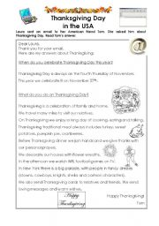 English Worksheet: Thanksgiving Day in the USA.