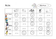 English Worksheets: My Day  -  When do you... ?