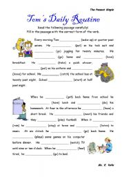 English Worksheets: Daily Routines - The Present Simple