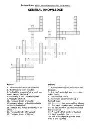 English Worksheets: General Knowledge Crossword
