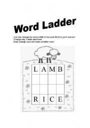 English Worksheets: Word Ladder 1
