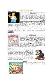English Worksheet: FAMOUS CARTOONS READING