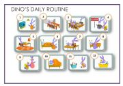 English Worksheets: Dino�s daily routine