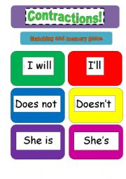 Contractions : memory and matching cards