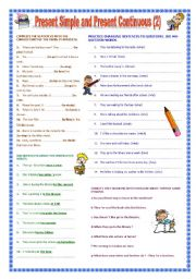 English Worksheet: Present Simple and Continuous Part 2
