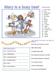 English Worksheet: MARY IS A BUSY BEE.