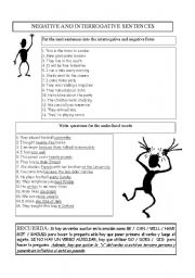 English Worksheets: questions and negatives