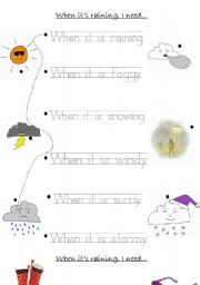 weather worksheet for young learners when it is raining i need esl worksheet by elowe. Black Bedroom Furniture Sets. Home Design Ideas