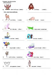 English Worksheets: animal frequency