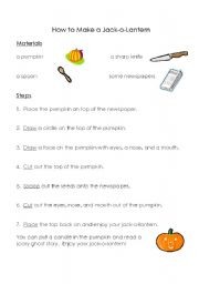 English Worksheets: How to Make a Jack-O-Lantern