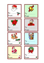 English Worksheet: Christmas cards for gift - (to-from) 1-3