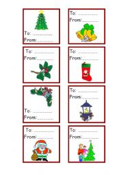 English Worksheet: Christmas cards for gift - (to-from) - 3-3