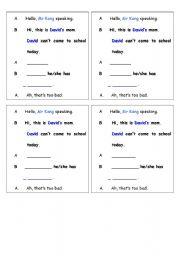 English Worksheet: korea lesson 13 phone conversation dictation