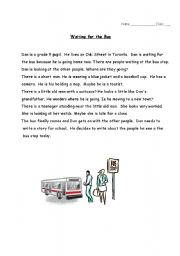 English Worksheets: Waiting for the Bus - Reading Comprehension Test