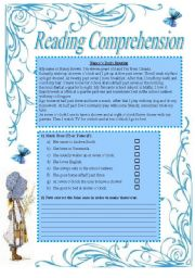 English Worksheets: Reading Comprehension about daily routines