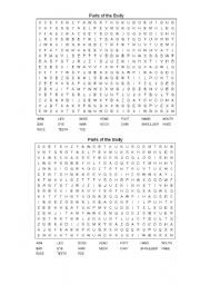Parts of the body wordsearch