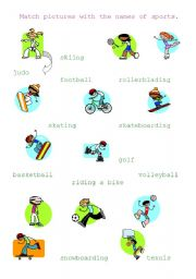 esl kids worksheets sports matching. Black Bedroom Furniture Sets. Home Design Ideas