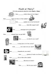 English Worksheets: How Much or How Many using Food