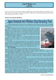 English Worksheet: Test Whale hunting in Japan