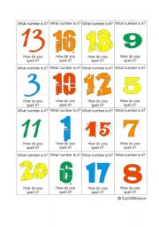 English Worksheet: Number Cards for the game: Number, Colour, Thing... Go!