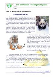 English Worksheet: Endangered Species - Passive Voice