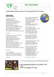 English Worksheets: Earth Song - Environment
