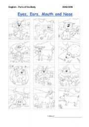 English Worksheets: Body Parts - Eyes, ears, nose, mouth